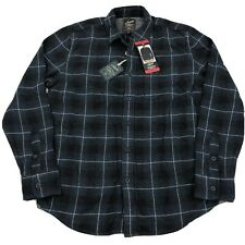 Grayers Heritage Men's Flannel Plaid Shirt Button Front L/S Blue Medium