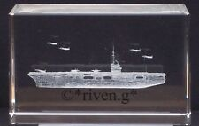 AIRCRAFT CARRIER CRYSTAL Laser Block@3D PAPER-WEIGHT@MARINE ORNAMENT@ROYAL NAVY