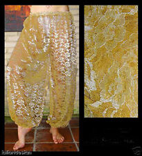 Harem Pants Belly Dance Lace Gold w/ Silver & Gold Floral Pattern