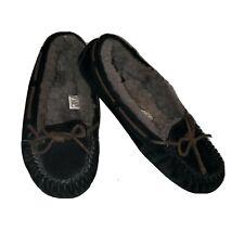 UGG Australia Dakota Slippers Moccasins Black Gray Suede Women's Size 7