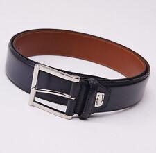 New $295 SANTONI Midnight Blue Calfskin Leather Belt 44 W (110cm) Silver Buckle