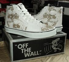 Vans Sk8-Hi LX (Lazer Skulls)White 100%Leather OLD & RARE VAULT 2005 year! 8.5US