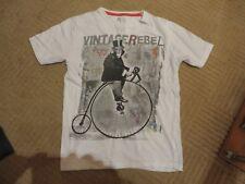 boys boy t-shirt tshirt top short sleeved white monkey on bike age 8-9 years