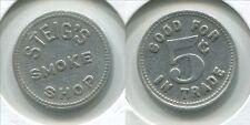 T005a Eagle Grove IA Iowa, Steig's Smoke Shop, 5 Cents In Trade, rare token