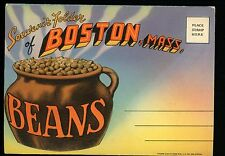 Postcard Folder Massachusetts MA Boston Beans State House Linen