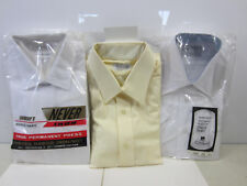 3 Vintage Men's White & Cream Dress Shirts- Nos Lord Essex, Sears, Toppers