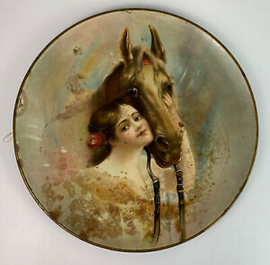 PRE-PROHIBITION BEER TRAY CHARLES EHLEN PAINTING GIRL & HORSE c1905