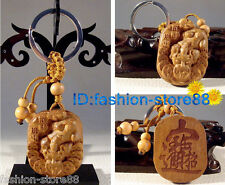 Beautiful Classical Carved Dragon wooden key chain keyring (Lucky Money Dragon)