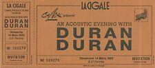 RARE / TICKET CONCERT - DURAN DURAN LIVE TO PARIS ( FRANCE ) 1993 / COMME NEUF