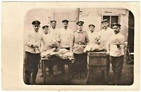 GERMAN COOKS MESS OFFICER SOLDIERS MEAL PREP. UNIT WW1 RPPC PHOTO POSTCARD