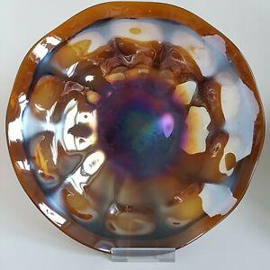 Large Vintage Art Nouveau Iridescent Glass Fruit Bowl Serving Dish :A1