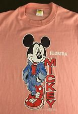 Vintage Mens M 70s 80s Mickey Mouse Walt Disney Florida Pink Thin NOS T-Shirt