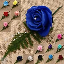 Artificial Foam Rose Button Hole Pearl Spray Bridal Corsage Groom Best Man