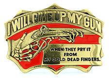 """""""From My Cold Dead Fingers"""" Gun Rights Solid Brass Belt Buckle"""