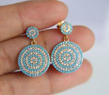 Genuine Gold Plated Blue Cubic Zircon Evil Eye Greek Turkish Earrings