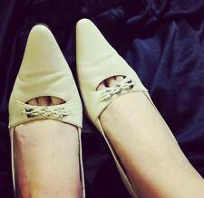Auth salvatore ferragamo beige pointed slingback heels w gancini metal buckle 8