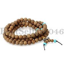 Holz Armband Halskette tibetisch-buddhistische Gebetskette Buddha Braun Türkis