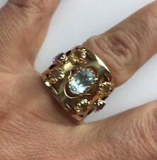 14 K Gold Blue Aquamarine Multi Stones Wide Band Ring Italy Designers