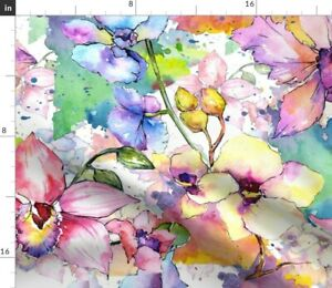Watercolor Flower Pattern Spoonflower Fabric by the Yard