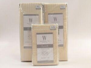 Wamsutta Pimacott Ivory Stripe 525 Thread Ct Sateen Weave Full Sheet Set G078