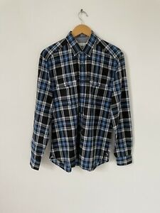 Lacoste Blue Check Long Sleeve Shirt Button Down Collar Size 40 Medium Slim Fit