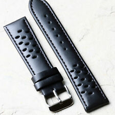 Black matte perforated smooth leather 20mm rally band calf-lined bargain price