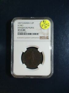 1837 Canada Sou NGC XF45 BN LC-8C1 BANQUE DU PEOPLE 1/2P TOKEN Coin BUY IT NOW !