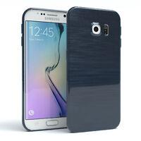 Schutz Hülle für Samsung Galaxy S6 Edge Brushed Cover Handy Case Dunkelblau