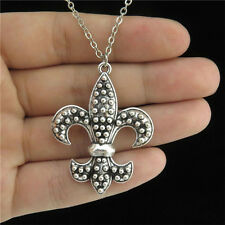 """18"""" Silver Chain Alloy Collar Short Necklace 40mm Flower-De-Luce Pendant Charm"""