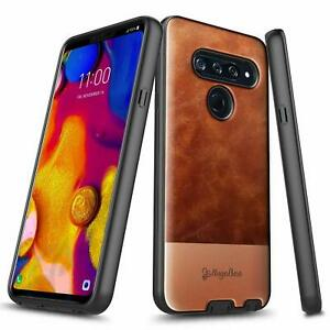 For LG V40 ThinQ Case, Shockproof Leather Phone Cover + Tempered Glass Protector