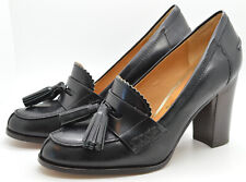 """Coach Women's Shoes Size 7 Tassel Oxford 4"""" Stacked Heel Black Leather"""