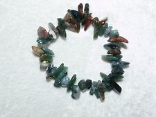 Moss Agate Stretchy Tumbled Gemstone Bracelet  06