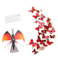 12pc Red Butterfly Wall Stickers / Magnet, 3D Art Decals Home Decorations Decor