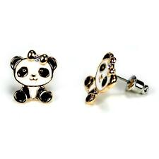 PANDA BEAR EARRINGS Post Pair Enamel Jewelry Gift Rhinestone Black White Cute