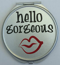 Hello Gorgeous Lips Red Vinyl Decal Blank Metal Compact Cosmetic Mirror Case