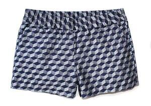 J.Crew Factory Women's 4 - NWT Navy Gem Geo Linen Blend Boardwalk Pull-On Shorts