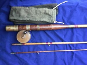 Antique Cane Fly Fishing Rod 12 Feet 3 Piece & Brass Fly Reel  Dia 2 1/2 inch