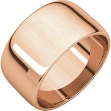 14K Rose Gold 10MM Half Round Light Wedding Band Ring
