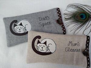 Handmade Personalised Cat Siamese Glasses Sunglasses Case Gift Grey or Linen Dot