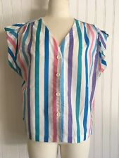 VTG 1970's Candy Striped Summer TOP Shirt Jac BOXY Button UP Roll Up Sleeves USA