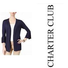 Charter Club Womens Blazer Jacket Intrepid Blue Long L