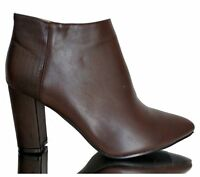 Ankle Boots Stiefeletten High Heels Hoher Block Absatz Pumps Chelsea Braun 40