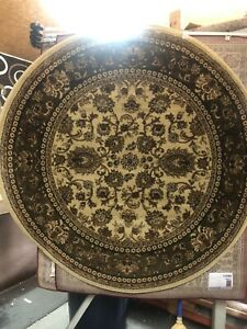 Round Elegant 5x5 Floral Green/sage Border Rug For The Home ~new just in~