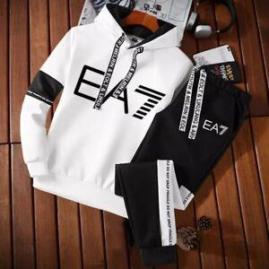 Men's All-Match Printing Trend Hooded Sweatshirt + Pants  Sportswear 2Pcs Hot