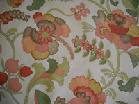 "P Kaufmann Upholstery Fabric Pink Peach Floral w/ Green Vines, 8.75 Yards, 56"" W"