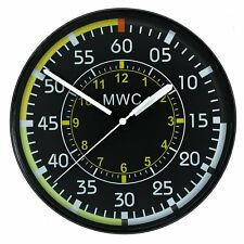 "MWC Airspeed Indicator Military Wall Clock 9""/22.5cm with Silent Sweep Movement"