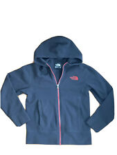 Boys The North Face Black Lightweight Fleece Zip Hooded Size Small 7/8