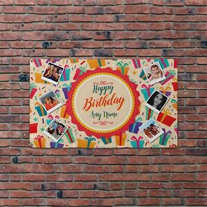 Personalised Photo Collage Happy Birthday Gifts 5x3ft Banner