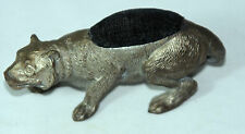 ANTIQUE c1890's~~RaRe PANTHER PIN CUSHION~~,figural, NOVELTY