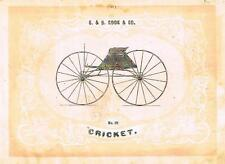 "Catalogue Advertising - Carriages by G & D Cook - ""CRICKET"" - 1860"